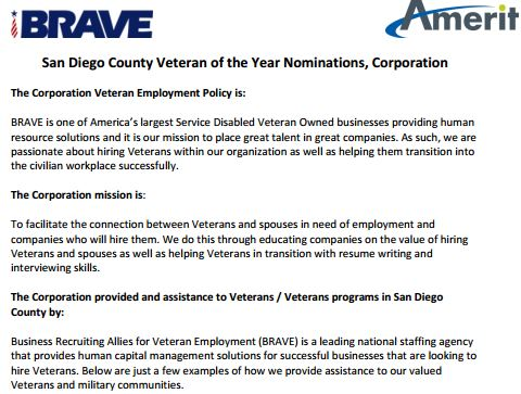 BRAVE - Meritorious Support of Veterans Application